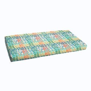 Blue Green Squares Indoor/ Outdoor Bristol Bench Cushion
