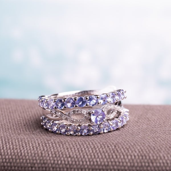 Miadora Sterling Silver Tanzanite and 1/10ct TDW Diamond 3-piece Stackable Ring Set (G-H, I2-I3). Opens flyout.