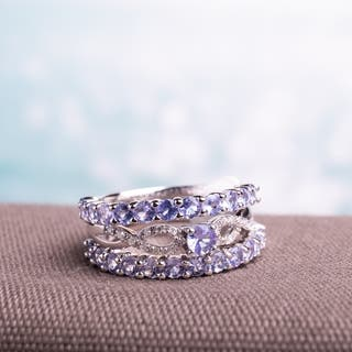 Miadora Sterling Silver Tanzanite And 1 10ct Tdw Diamond 3 Piece Stackable Ring Set