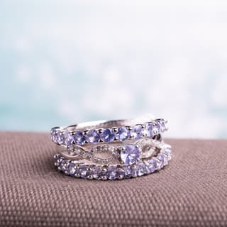 Miadora Sterling Silver Tanzanite and 1/10ct TDW Diamond 3-piece Stackable Ring Set (G-H, I2-I3) - Blue