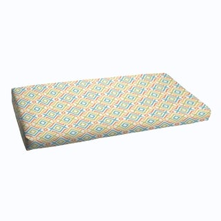 Blue Green Geometric Indoor/ Outdoor Bristol Bench Cushion