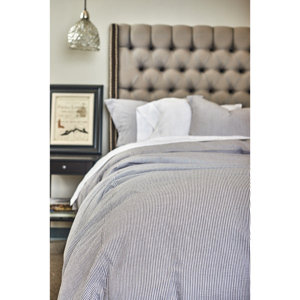 Connie Grey Cotton Seersucker Duvet Cover Set