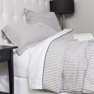 Connie Grey Cotton Seersucker Duvet Cover Set