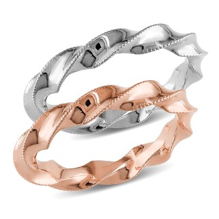 Miadora Signature Collection 18k Two-tone White and Rose Gold 2-piece Twisted Stackable Wedding Ring Set