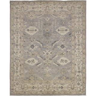 Fine Pakistani Oushak Siobhan Grey Hand-knotted Rug (8'0 x 9'10)