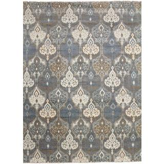 Super Fine Oushak Jiaan Grey Hand-knotted Rug (9'0 x 12'3)