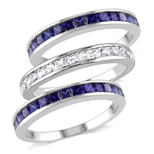 Miadora Sterling Silver 2 1/4ct TGW Square-cut Created Blue and White Sapphire 3-piece Anniversary Stackable Ring Set