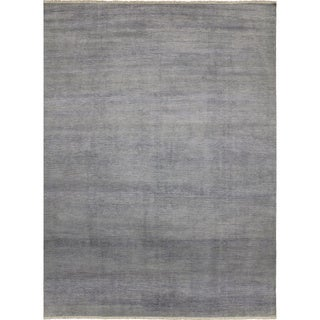 Super Fine Grass Shahdi Grey Hand-knotted Rug (9'0 x 12'0)