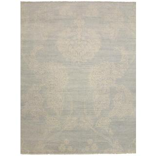 Super Fine Oushak Xesus Blue Hand-knotted Rug (9'1 x 12'0)