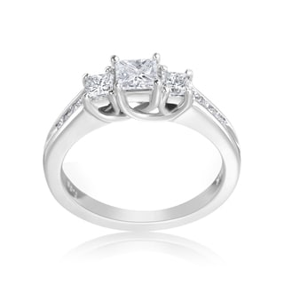 Andrew Charles 14k White Gold 1ct TDW 3-Stone Princess Cut Ring (H-I, SI2-I1)