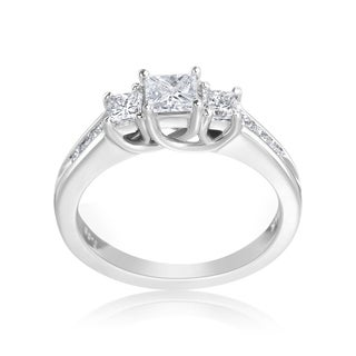 Andrew Charles 14k White Gold 1ct TDW 3-Stone Princess Cut Ring