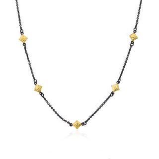 Cosmopolitan 14k Yellow Goldplated Black Rhodium-plated Diamond-shaped Charm Chain Link Necklace