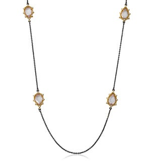 Cosmopolitan 14k Yellow Goldplated Black Rhodium-plated Faceted Glass Teardrops Chain Necklace