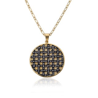 Cosmopolitan Gold Overlay Crystal Criss-cross Round Pendant