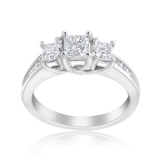 Andrew Charles 14k White Gold 1 1/2ct TDW 3-stone Diamond Princess Ring