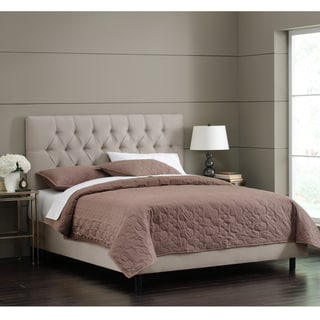 Skyline Furniture Light Grey Velvet Tufted Bed