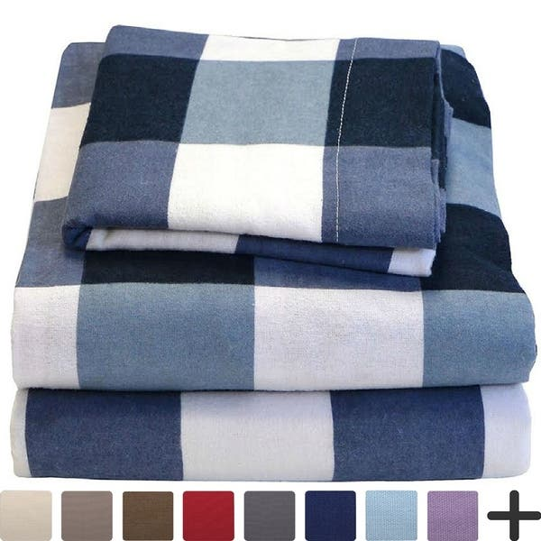 9a66bd80925a 100% Cotton Velvet Flannel Sheet Set - Extra Soft Heavyweight - Double  Brushed Flannel -