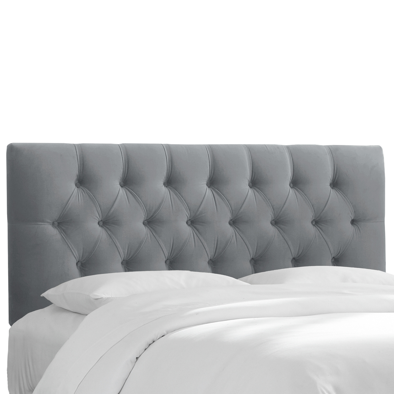 Skyline Furniture Steel Grey Velvet Tufted Headboard Overstock 11467620