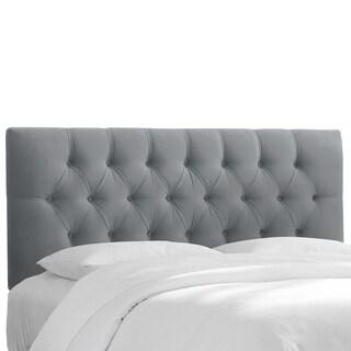 Skyline Furniture Steel Grey Velvet Tufted Headboard