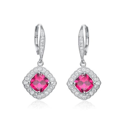 Collette Z Sterling Silver Genuine Ruby Cubic Zirconia Hook Earrings