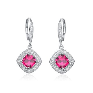 Collette Z Sterling Silver Genuine Ruby Cubic Zirconia Hook Earrings