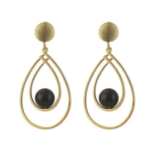Collette Z Sterling Silver Genuine Suspended Onyx Earrings