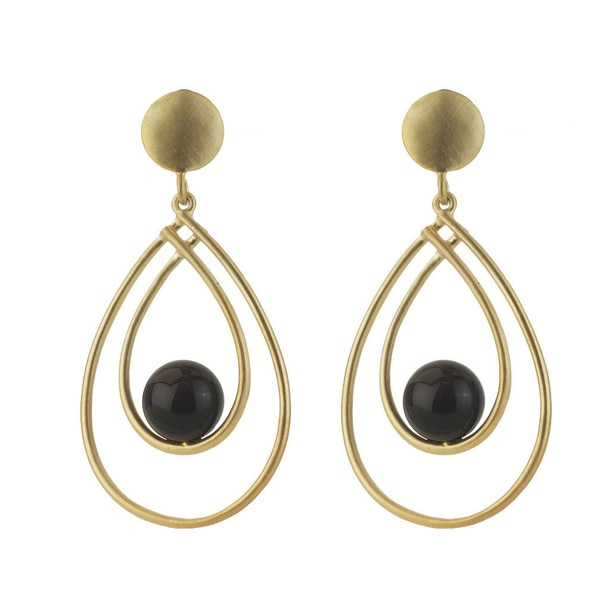Collette Z Sterling Silver Genuine Suspended Onyx Earrings. Opens flyout.
