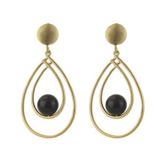 Collette Z Sterling Silver Genuine Suspended Onyx Earrings