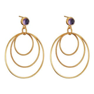 Collette Z Gold Overlay Genuine Amethyst Three Ring Earrings