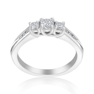 Andrew Charles 14k White Gold 1/2ct TDW 3-Stone Diamond Ring
