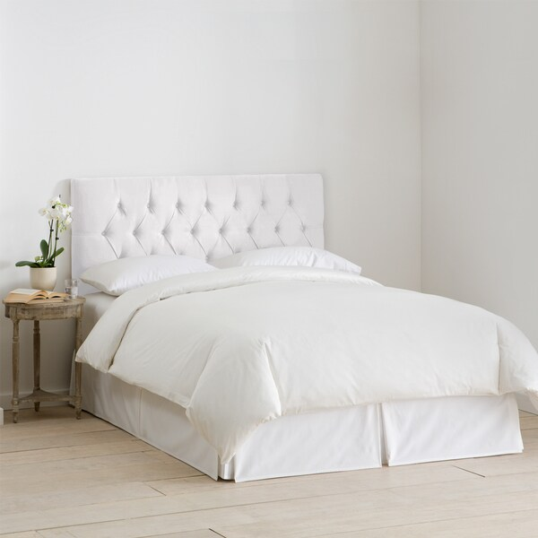 White Velvet Tufted Headboard- Skyline Furniture