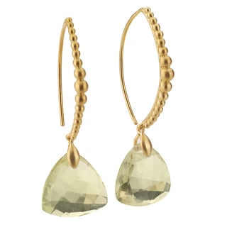 Collette Z Sterling Silver Genuine Lemon Quartz Drop Earrings