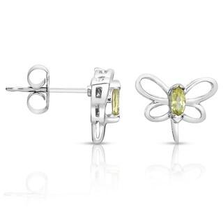 Collette Z Sterling Silver Genuine Peridot Stone Butterfly Earrings