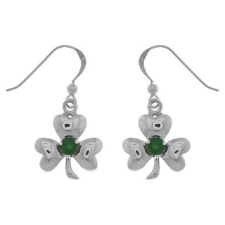 Sterling Silver Celtic Shamrock Clover Good Luck Dangle Earrings with Emerald Green Glass