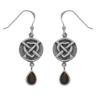 Sterling Silver Celtic Heart Dangle Earrings with Genuine Garnet Teardrops