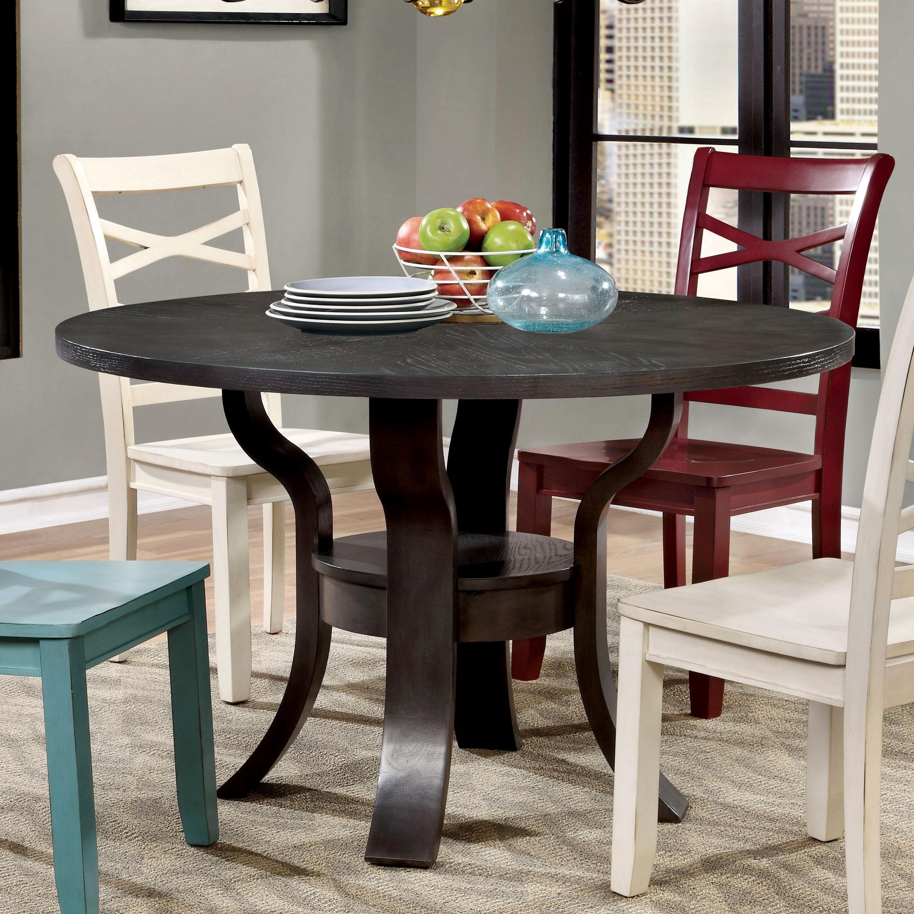 Furniture Of America Crane Simple Espresso Round Dining Table