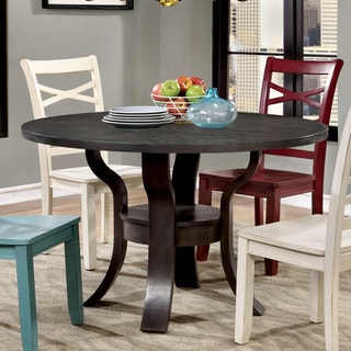 Furniture of America Crane Simple Espresso Round Dining Table