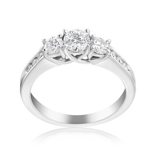 Andrew Charles 14k White Gold 1ct TDW 3-stone Diamond Ring (H-I, SI2-I1)