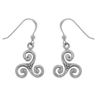 Sterling Silver Celtic Trinity Triskele Dangle Earrings