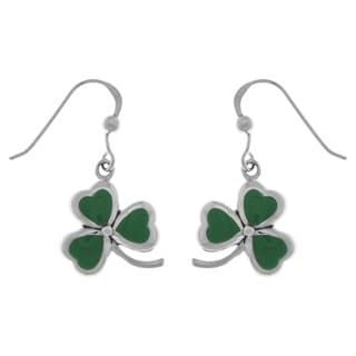 Sterling Silver Celtic Shamrock Clover Good Luck Dangle Earrings