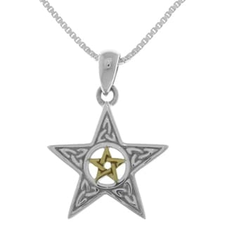 Sterling Silver Celtic Trinity Star Pentacle Pendant with 14k Gold-Plating on 18-inch Necklace