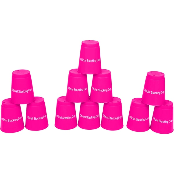 Trademark Innovations Pink Quick Stack Cups Speed Training Sports Stacking Cups (Set of 12)