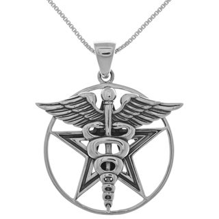 Sterling Silver Caduceus Wings and Star Pendant
