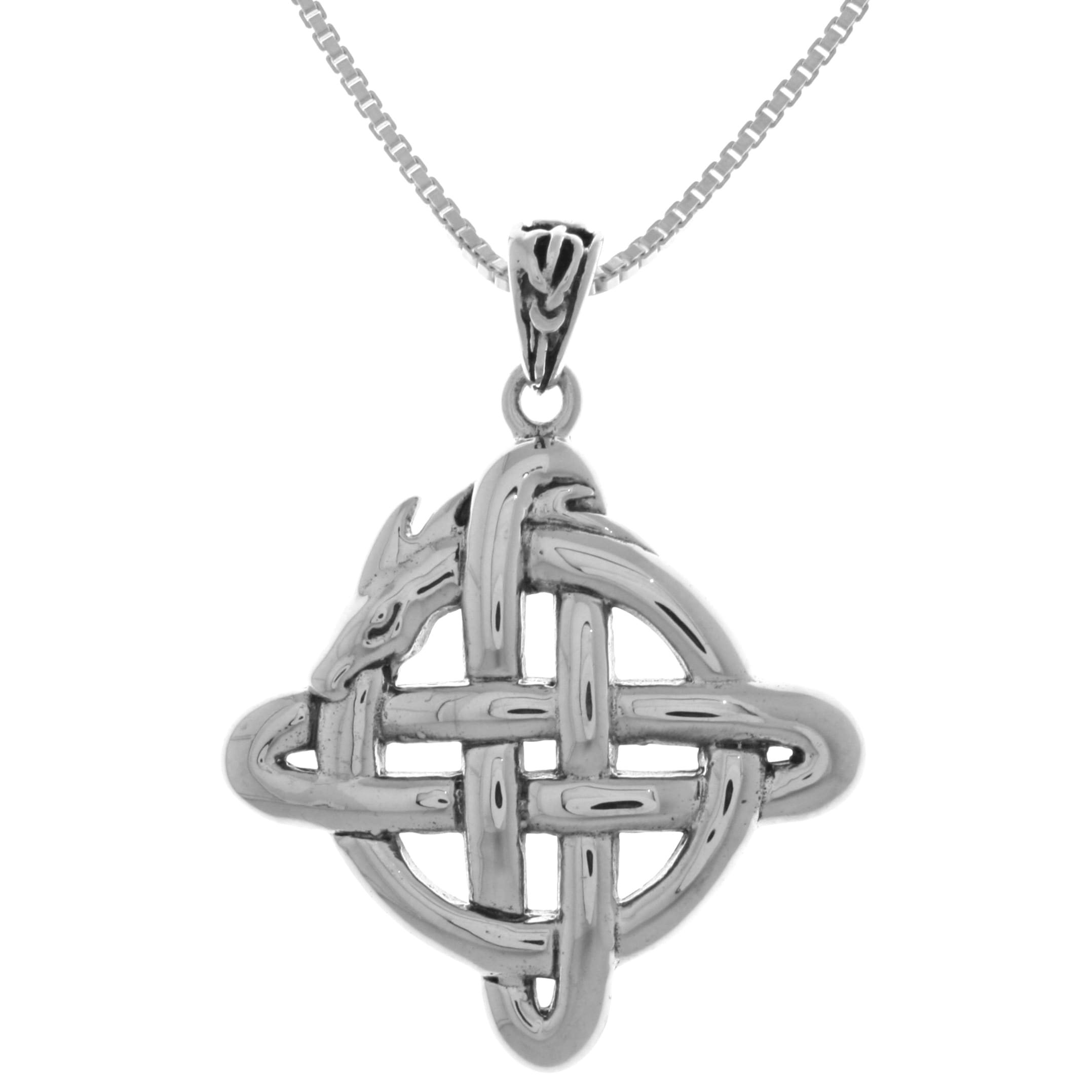 Shop Sterling Silver Celtic Dragon Knot Pendant On Sale Free