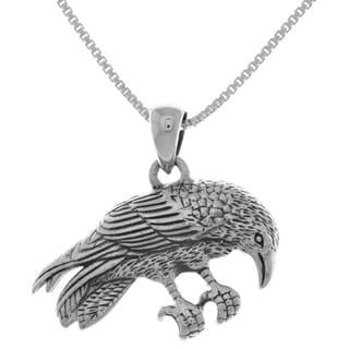 Sterling Silver Perching Raven Pendant