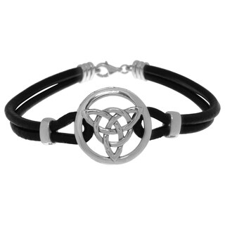 Sterling Silver Celtic Trinity Knot Medallion on Black Leather Cord Bracelet 8 Inch