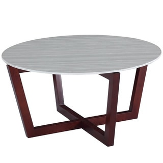 Wood and Marble Cross Coffee Table
