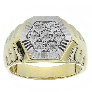 10k Yellow Gold Men's Diamond Accent Hexagonal Ring