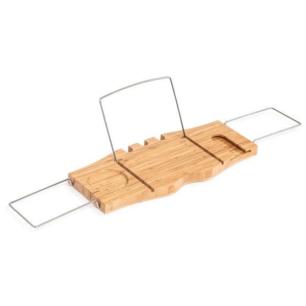 Trademark Innovations Bamboo Bathtub Tray and Caddy