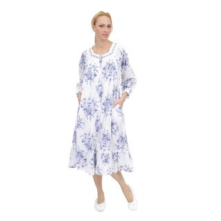 La Cera Women's Long Sleeve Ribbon/Lace Yoke Robe